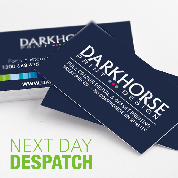 Next Day Despatch Business Cards Dark Horse Print Design